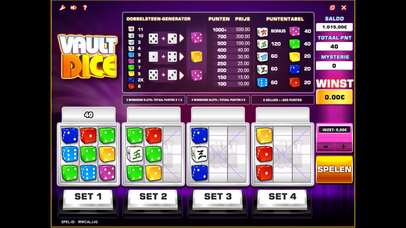 vault dice screen